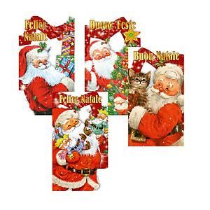 Chiudipacco Babbo Natale con cordoncino 4,5 x 8 cm fantasie assortite - conf.12