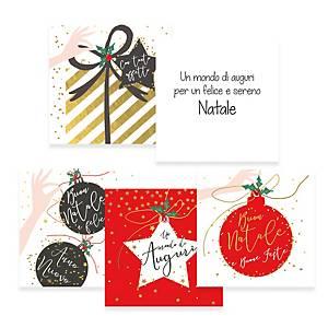 Minibiglietti Natale quadrati con busta 8 x 8 cm fantasie assortite - conf. 36