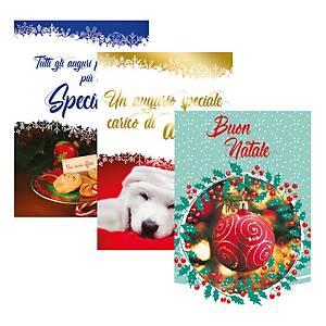 Biglietti Natale glitter con busta 12 x 18 cm fantasie assortite - conf. 24