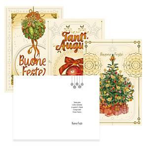 Biglietti Natale rilievo con busta 12 x 18 fantasie assortite - conf. 8