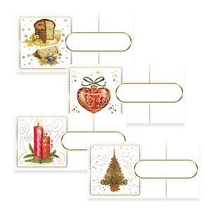 Segnaposto natalizi  5,5 x 11 cm fantasie assortite - conf. 12
