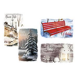 Chiudipacco paesaggi Natale con cordoncino 4,5x8cm fantasie assortite - conf.12