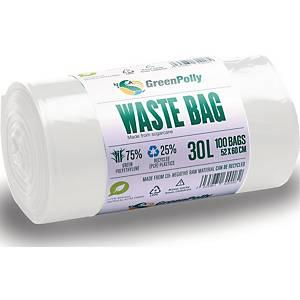 Affaldssække GreenPolly, genanvendelige, 30 L, 11 my, hvid, rulle a 100 stk.