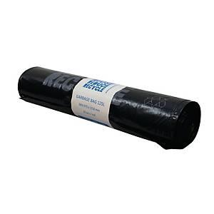 Affaldssække PolyBLUE, 125 L, genbrugsplast, 40 my, sort, rulle a 25 stk.