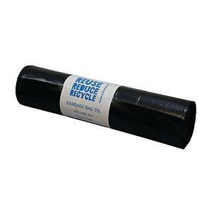 Affaldssække PolyBLUE, 70 L, genbrugsplast, 40 my, sort, rulle a 25 stk.