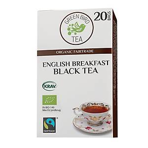 Te Green Bird Tea English Breakfast, pakke à 20 poser