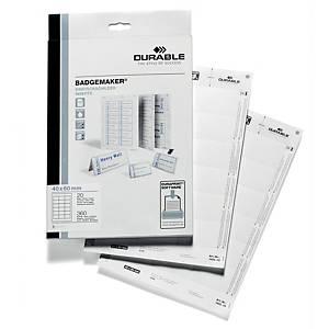 Cartes à insérer pour badge Durable 1452, 40 x 60 mm, 18/feuille, boîte de 360