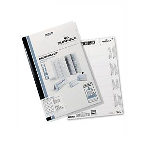 Cartes à insérer pour badge Durable 1453, 40 x 75 mm, 12/feuille, boîte de 240