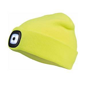 Zimní reflexní čepice s LED lampou CERVA DEEL LED, žlutá