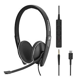 Sennheiser SC165 telefoon headset met snoer, met 2 oorschelpen, zwart