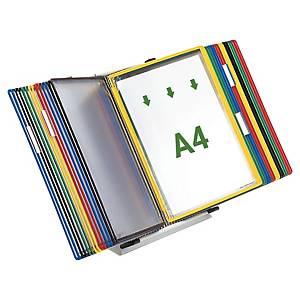 Système d'affichage Tarifold 434309 avec pied métal, 30 panneaux, PVC, 5 coloris
