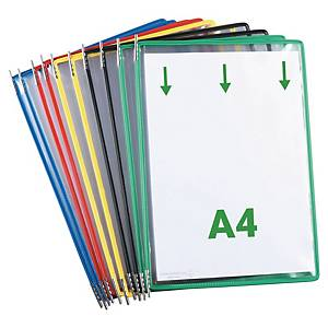 Tarifold pockets for display system in metal/PVC assorted colours - pack 10