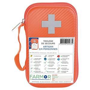 Trousse de secours spéciale artisan - 2/4 personnes - orange fluo