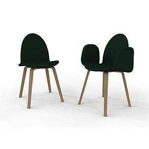 CONFERENCE CHAIR W/WOODEN LEGS DIA48 BLK