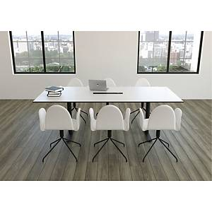 CONFERENCE CHAIR WITH LEATHER DIA48 BLK