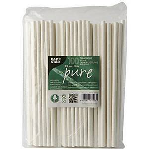 PK100 PAPER STRAWS WHITE PURE BREAKABLE