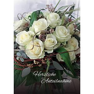 Doppelkarte Natur Verlag Trauer Bouquet weisse Rosen, 17,5x12,2 cm, deutsch