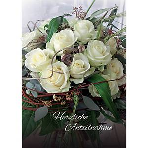 Carte double Natur Verlag, condoléances, roses blanches, 17,5x12,2cm, allemand