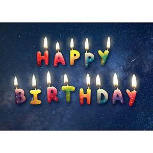 Carte double Natur Verlag, Happy Birthday,17,5x12,2cm, anglais