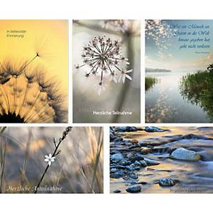 Série cartes doubles condoléances Natur Verlag Trauer 10236, allemand, 5 motifs