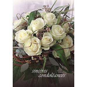 Doppelkarte Naturverlag Trauer Bouquet weisse Rosen, 17,5x12,2 cm, neutral