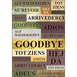 Carte double ABC, 117x173 mm, au revoir, multilingue