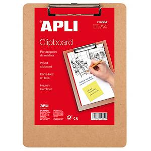 Carpeta con pinza Apli - madera - A4
