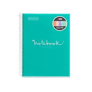 Caderno Miquelrius Notebook 5 - A4 - 120 folhas - 5x5 - turquesa