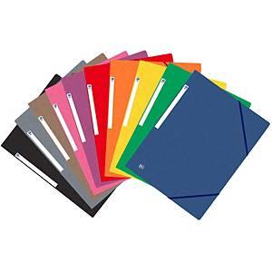 Pack de 10 pastas de 3 abas Oxford - A4 - cores sortidas