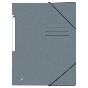 Oxford elastomap, 3 kleppen, sluitelastieken, A4, karton, grijs, per 10