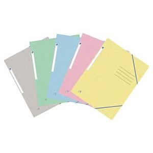 Chemise Oxford, 3 rabats, élastique de fermeture, A4, carton, 10 couleurs pastel