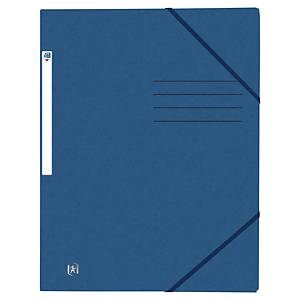 Oxford elastomap, 3 kleppen, sluitelastieken, A4, karton, donkerblauw, per map