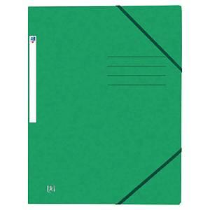 Oxford elastomap, 3 kleppen, sluitelastieken, A4, karton, groen, per map