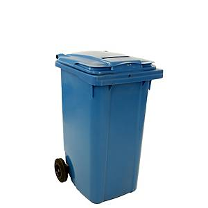 Recycling Wheelie Bin with Paper Slit and Lock - 240L - blue