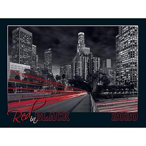 Toptimer falinaptár, 56x42cm, Red in black, 1 db