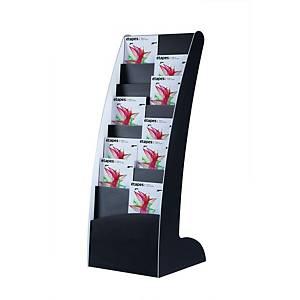 Rack à magazines Paperflow Courbo à 8 compartiments, polystyrène, noir