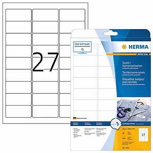 Badge textile autocollant Herma 4511, 63,5 x 29,6 mm, blanc, les 20 feuilles
