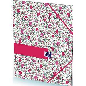 Elastikmappe Oxford, A4, 3-klap, blomstret