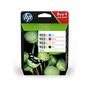 HP 903XL 4-pack High Yield Blk/Cyn/MGnta/Yllw Original Cartridges (3HZ51AE)