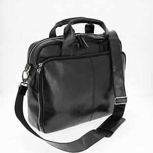 PIERRE BUFFALO LEATHER COMPUTER BAG BLK