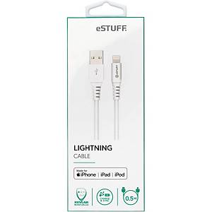 ESTUFF LIGHTNING CABLE 0.5 M WHITE