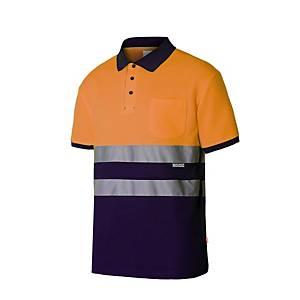 Polo algodón A/V manga corta Velilla 305513 - naranja/azul marino- talla 3XL