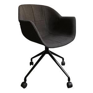 Chaise pivotante sur roulettes Paperflow Gant, noire/anthracite, les 2 chaises