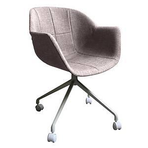 Chaise pivotante sur roulettes Paperflow Gant, blanche/grise, les 2 chaises