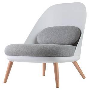 Fauteuil Paperflow Cocoon - 4 pieds bois - blanc/gris