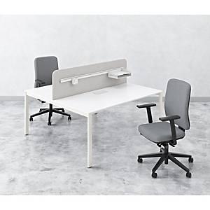 Bureau d'appoint partagé EOL Arial, l 165 x L 180cm, pieds blancs, plateau blanc