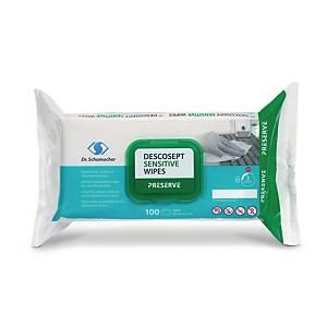 Lingettes désinfectants Decosept Sensitive, blanc, pack de 100pièces