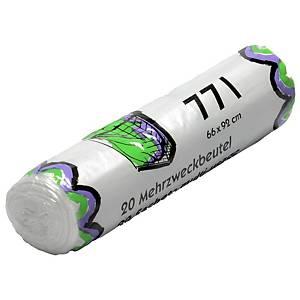 Mehrzweckbeutel  mit Verschlussband, 77 Liter, Rolle à 20 Stück