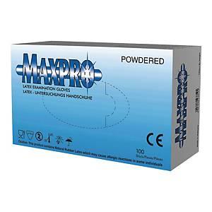Rękawice lateksowe MAXPRO, rozmiar M, opakowanie 100 sztuk