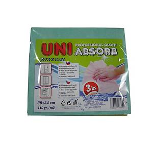 Uniabsorb 38 x 34 cm, 110 g/m2, barevný mix, 3 ks v balení